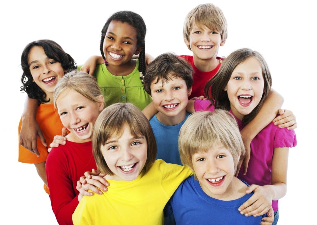 Group of children is looking at camera. They are isolated on white.   class=