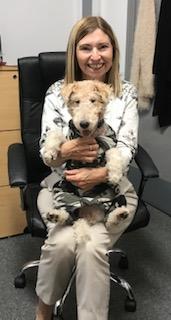 Julie Barnett & Poppy the dog (Staff)